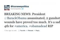 """Tweet """"Barack Obama je mrtav"""" objavljen na Twitter računu Fox News-a"""