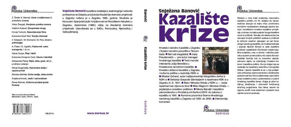 """Kazalište krize, nova knjiga Snježane Banović Kao što znamo, hrvatsko je kazalište rođeno bez prave očevine to jest bez teatarskih predaka u pravom smislu riječi te je kao takvo učinilo veliki iskorak kad se (po Gavelli) rodilo u """"umjetno pripremljenom gajilištu"""" držeći u rukama zastave """"borbe protiv tuđinštine"""". Pritom je, vrlo ambiciozno, njegov organizacijski model bio određen odnosom prema bečkom Burghtheatru, osnovanom na temelju ideološke inicijative – voljom Josipa II., koji je, naslanjajući se na pruske primjere, htio osnovati njemački Nationaltheater s namjerom da stvori žarište oplemenjene teatarske umjetnosti u smislu prosvjetiteljskih ideja. Za razliku od bečkog kazališnog hrama, hrvatska su javna kazališta, osim u važnim iskoracima dvadesetih i pedesetih godina prošlog stoljeća, preuzela ukočenu fizionomiju posluha i svojevrsnoga autizma u odnosu na prostor i vrijeme oko sebe. Nije tu pomogla ni postmoderna kao globalni umjetnički stil koji je u Europi u posljednja dva i pol desetljeća njegovao auto-refleksivnost, samosvijest, relativizam i ironiju prema aktualnim i prošlim kulturnim praksama. Baš obratno, postmoderna koja je zatresla europske kulturne institucije nikada nije dotakla temeljne ustanove hrvatske kazališne kulture. Postmodernost je možda našla svoje mjesto u hrvatskom društvu, naročito kroz izražajnu fragmentaciju socijalnih klasa i enormni porast konzumerizma, ali njegova kultura zvana postmodernizam ostala je od strane javne i još više nacionalne kulture gotovo potpuno ignorirana."""