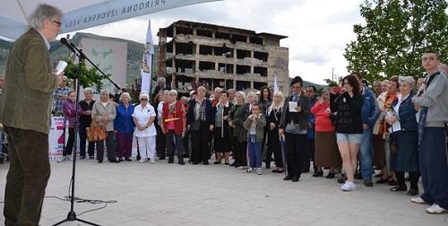 Obraćanje Esada Bajtala prosvjednicima u Mostaru, 1. svibnja 2014.