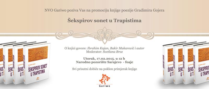 Pozivnica na promociju Gojerove knjige poezije
