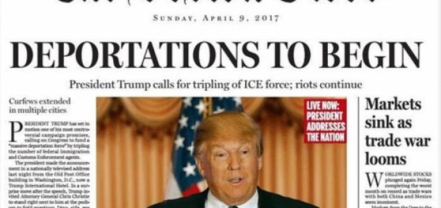 'Deportacije počinju': Boston Globe objavio satiričnu naslovnicu Amerike Donalda Trumpa