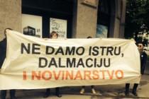 """""""Ne damo Istru, Dalmaciju i novinarstvo"""": Pred Ministarstvom se vikalo """"ostavka – ostavka"""", ostavljen mali šator"""