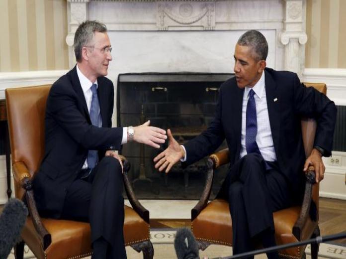 U.S. President Barack Obama meets with NATO Secretary-General Jens Stoltenberg at the White House in Washington, April 4, 2016