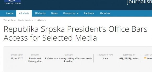 Vijeće Evrope upozorava na selektivan tretman medijskih kuća u BiH