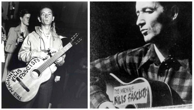 This Machine Kills Fascists - Woody Guthrie, two guitars-8x6