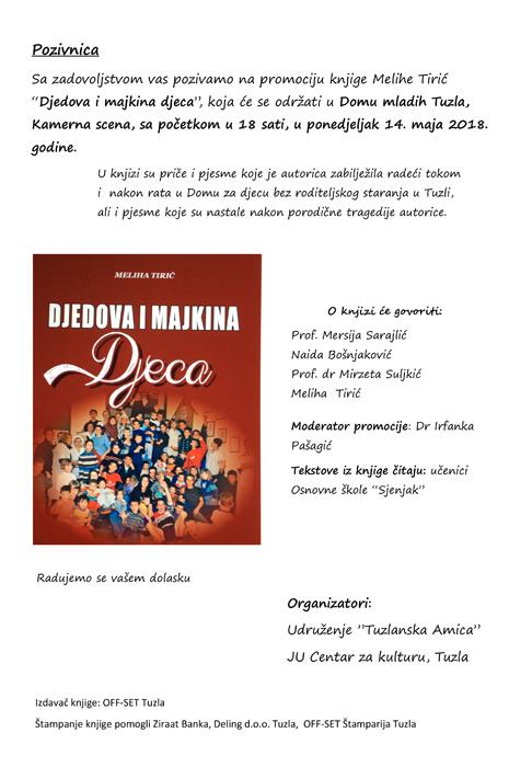 POZIVNICA - Promocija knjige Amica Educa Dom mladih 2018